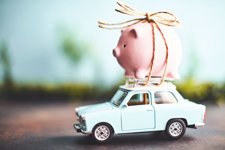 Piggy Bank On Toy Car